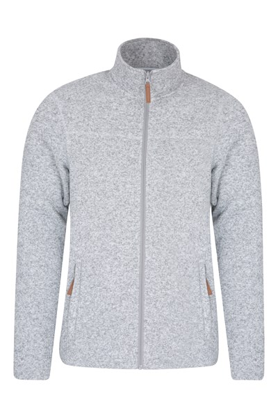Idris Mens Full Zip Fleece - White