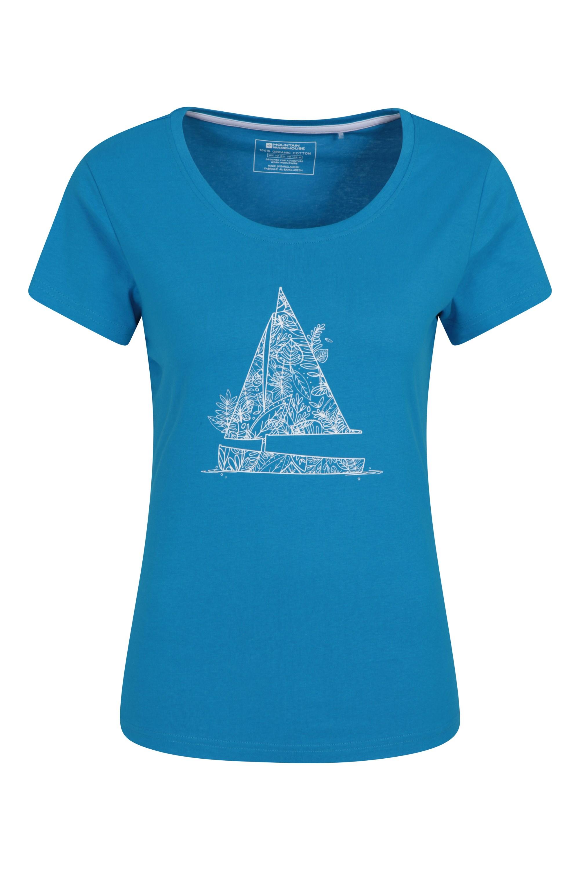 Boat Printed - t-shirt damski - Blue
