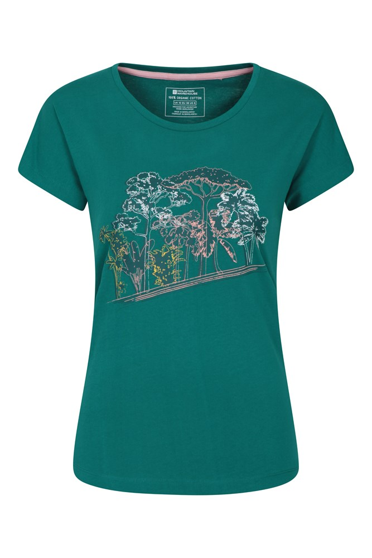ideal f/ür Sport kuscheliges Top Outdoor schnelltrocknendes T-Shirt atmungsaktives Damen-T-Shirt Mountain Warehouse Damen-T-Shirt mit Druck von Forest Trees