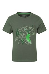 038422 GLOW IN THE DARK DINO ORGANIC KIDS SS TEE