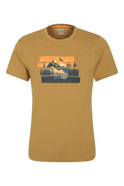 Mountain Explorer Organic Cotton Mens T-Shirt - Beige