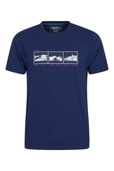 3 Peaks Organic Cotton Mens T-Shirt - Navy