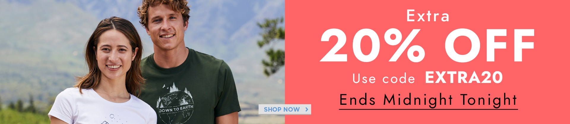 H1: 20% OFF ENDS CODE: EXTRA20