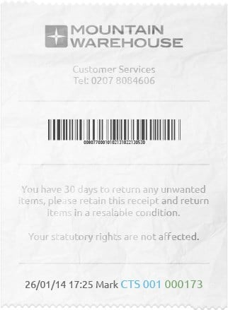 Receipt Details Mountain Warehouse Us