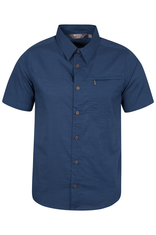 Coconut Short Sleeve Mens Travel Shirt - Navy