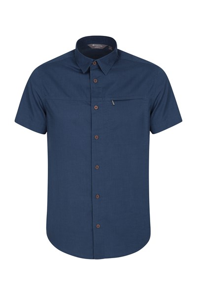 Coconut Short Sleeve Mens Travel Shirt - Navy