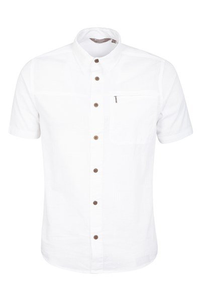 Coconut Short Sleeve Mens Travel Shirt - White
