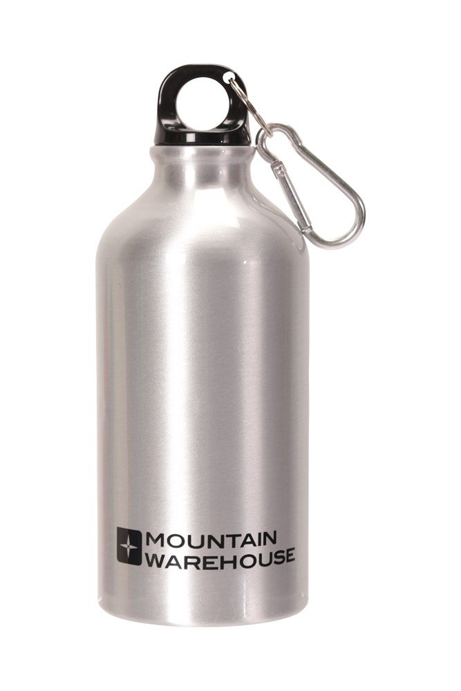0.5l Metallic Finish Bottle With Karabiner - Silver