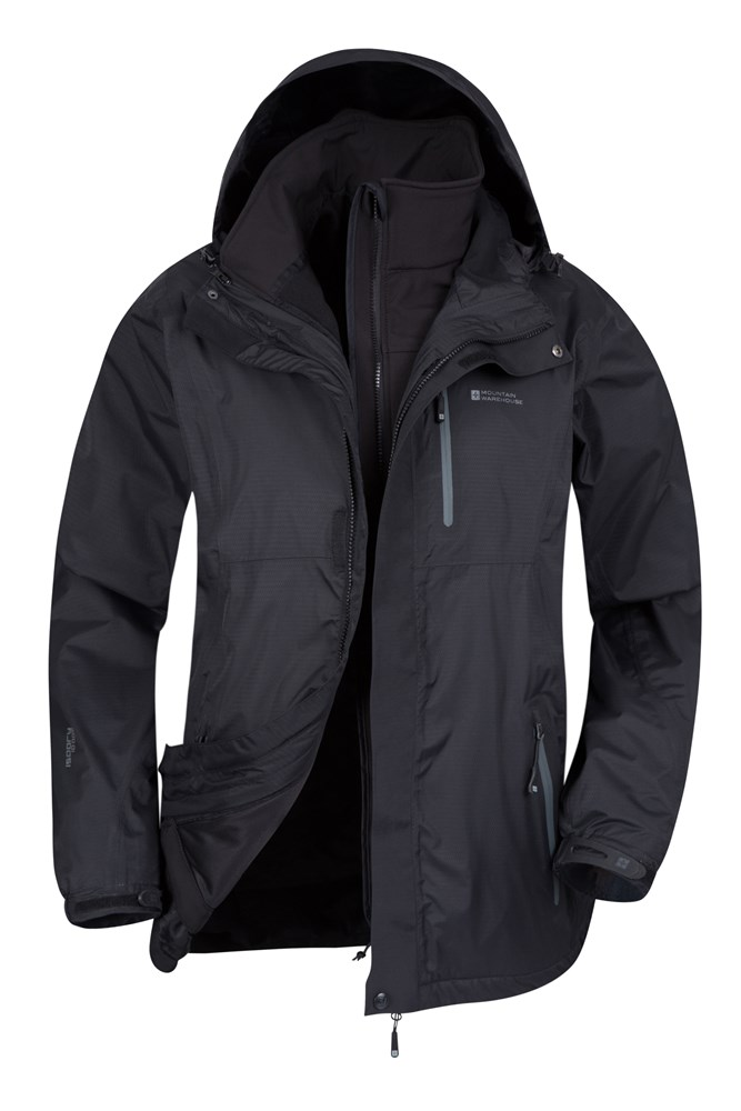 mens rain jackets mountain warehouse us #2: bla bracken mens 3in1 waterproof jacket aw16 01