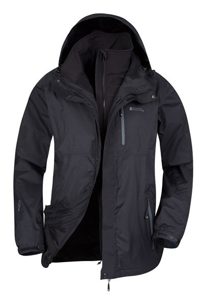 Bracken Extreme 3 in 1 Mens Waterproof Jacket - Black