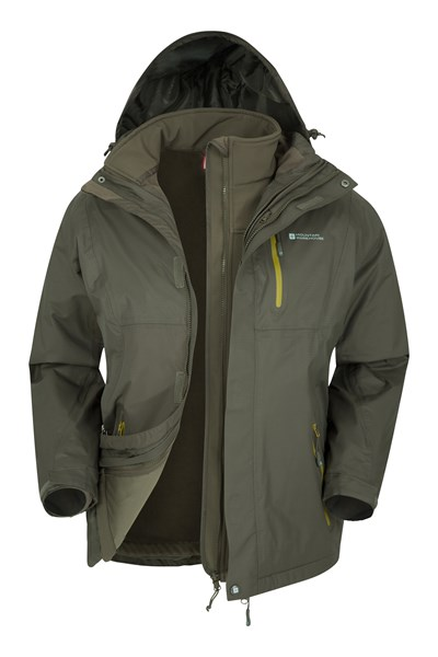 Bracken Extreme 3 in 1 Mens Waterproof Jacket - Green