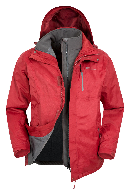 Bracken Extreme 3 in 1 Mens Waterproof Jacket - Red