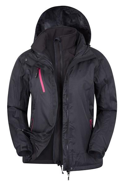 Bracken Extreme Womens 3 in 1 Waterproof Jacket - Black
