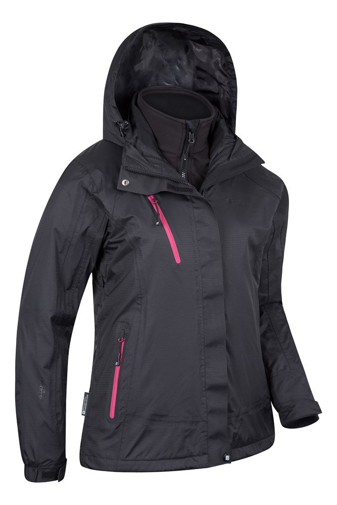 This is a black and pink hooded waterproof jacket from Columbia. It is Women's size Small and is in excellent used condition. No rips or stains, smoke free home.