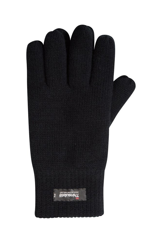 Thinsulate Mens Knitted Gloves - Black