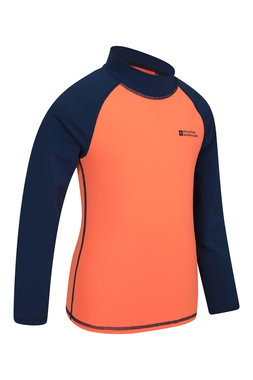 Flat Seams UPF50+ Sun Protection Rash Guard Mountain Warehouse Short Sleeves Printed Kids Rash Vest Quick Drying Rash Top Green 11-12 Years