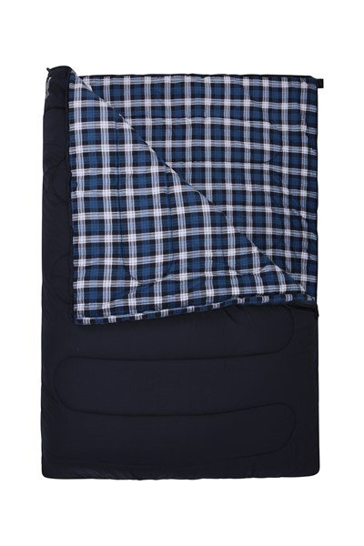 Double Check Flannel Sleeping Bag - Blue