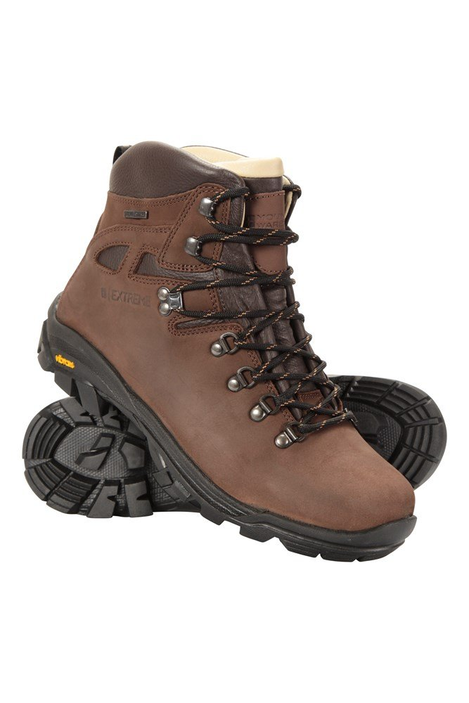Excalibur Mens Leather Waterproof Boots - Brown
