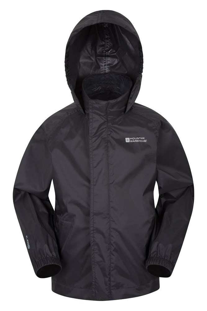 Kids black rain jacket
