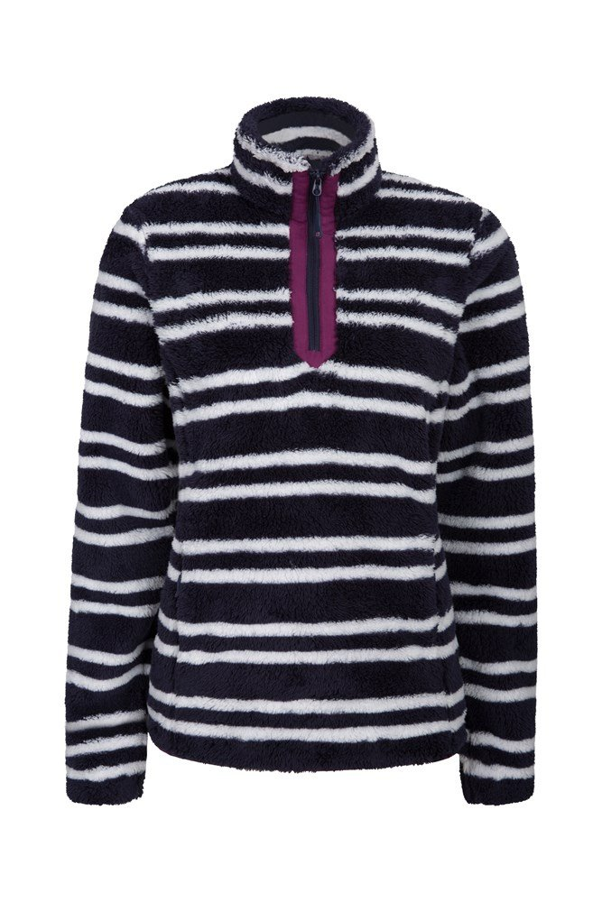 Nessy Stripe Womens Fleece - Dark Blue