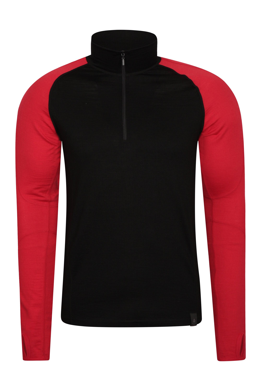 Haut à col zippé pour hommes en mérinos Asgard thermique  sous-vêtements fonctionnels - Rouge