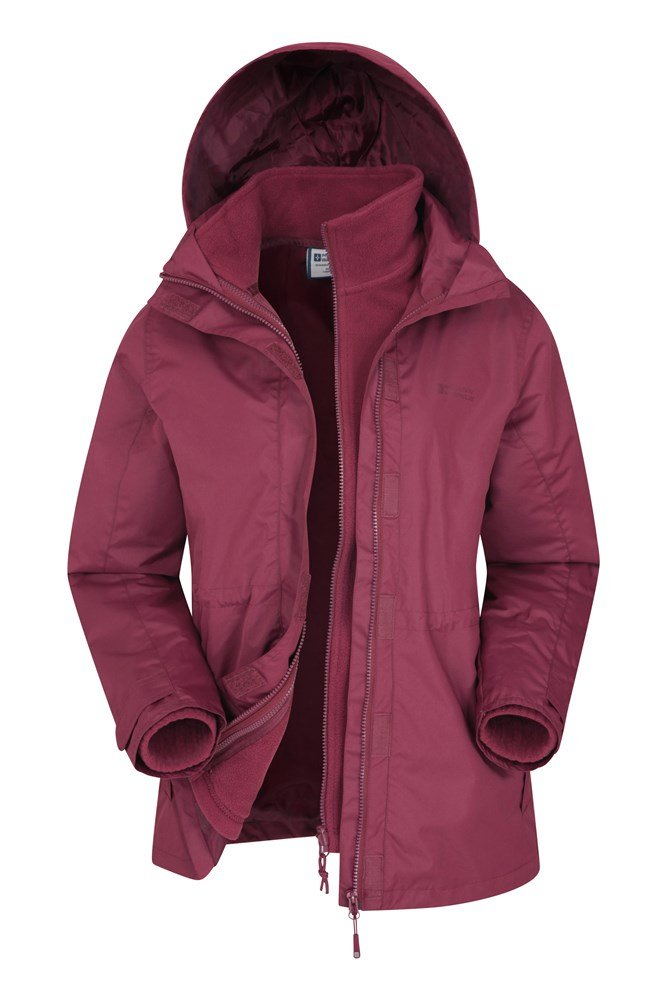 Mountain Warehouse Womens 3 in 1 Jacket Water Resistant Triclimate Coat Ladies