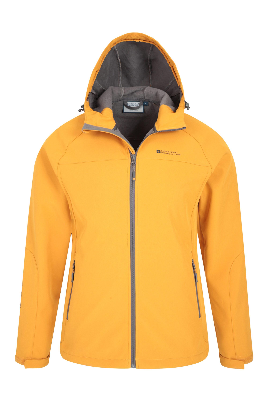Garde de Menton Poches r/églable Manteau r/ésistant /à leau de Pluie Mountain Warehouse Helix Veste de Mens Softshell enroulez r/ésistant Respirable
