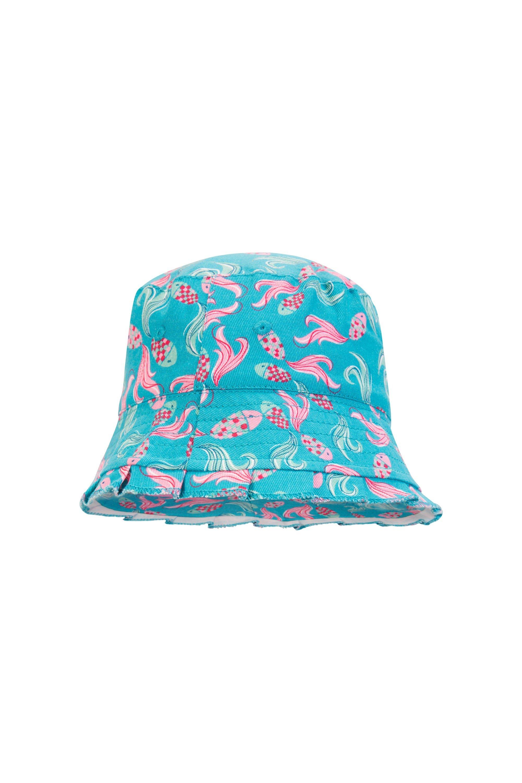 Printed Kids Bucket Hat - Teal