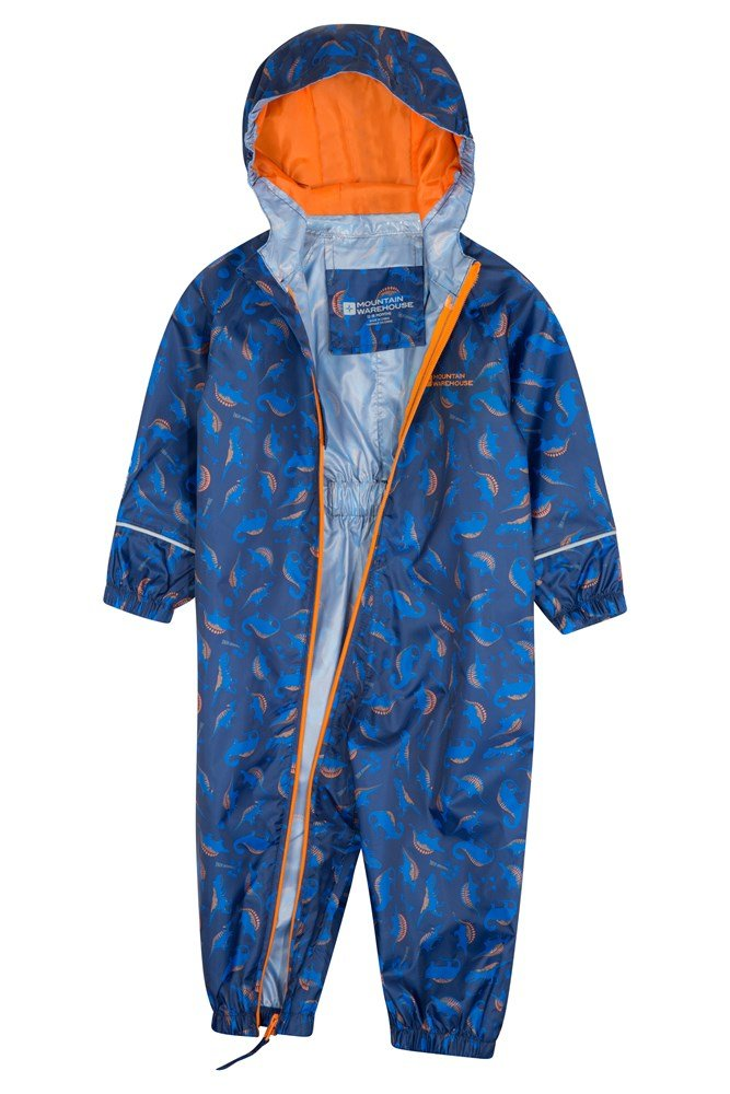 for Travelling Blue 6-12 Months High Vis Suit Mountain Warehouse Puddle Kids Printed Rain Suit Waterproof Childrens Rain Coat Breathable Waterproof Coat Taped Seams Suit