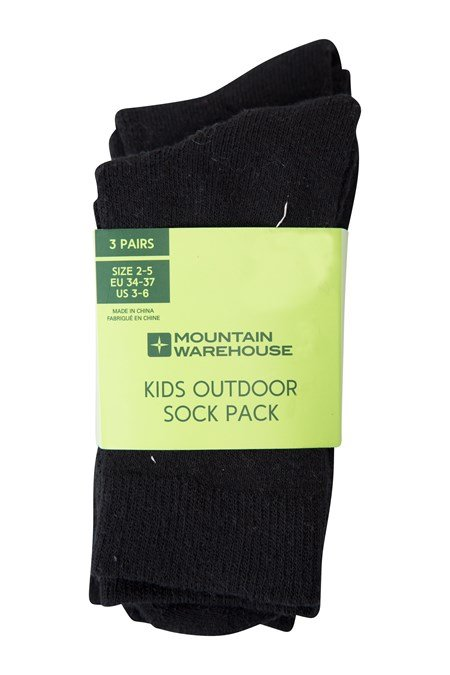 022853 OUTDOOR KIDS SOCK 3 PK SOLID
