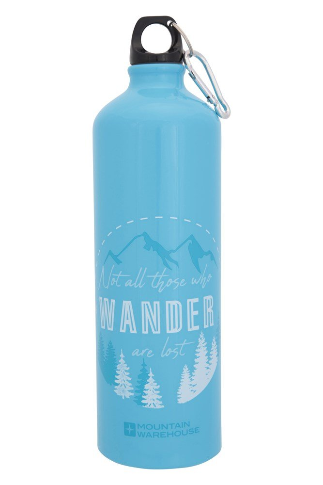 1l Printed Metallic Bottle With Karabiner - Blue