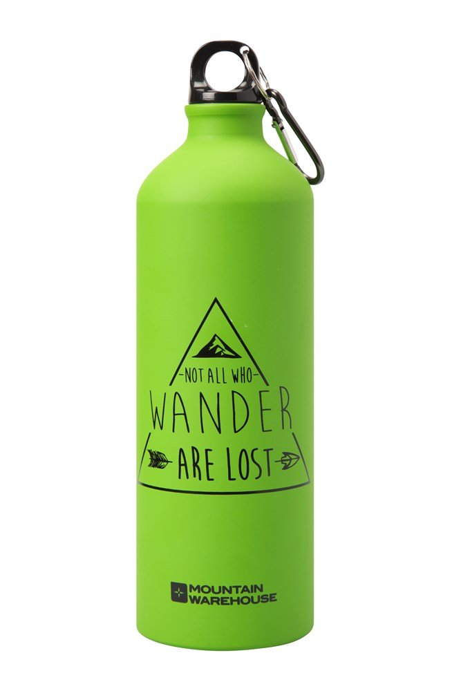 1l Printed Metallic Bottle With Karabiner - Green