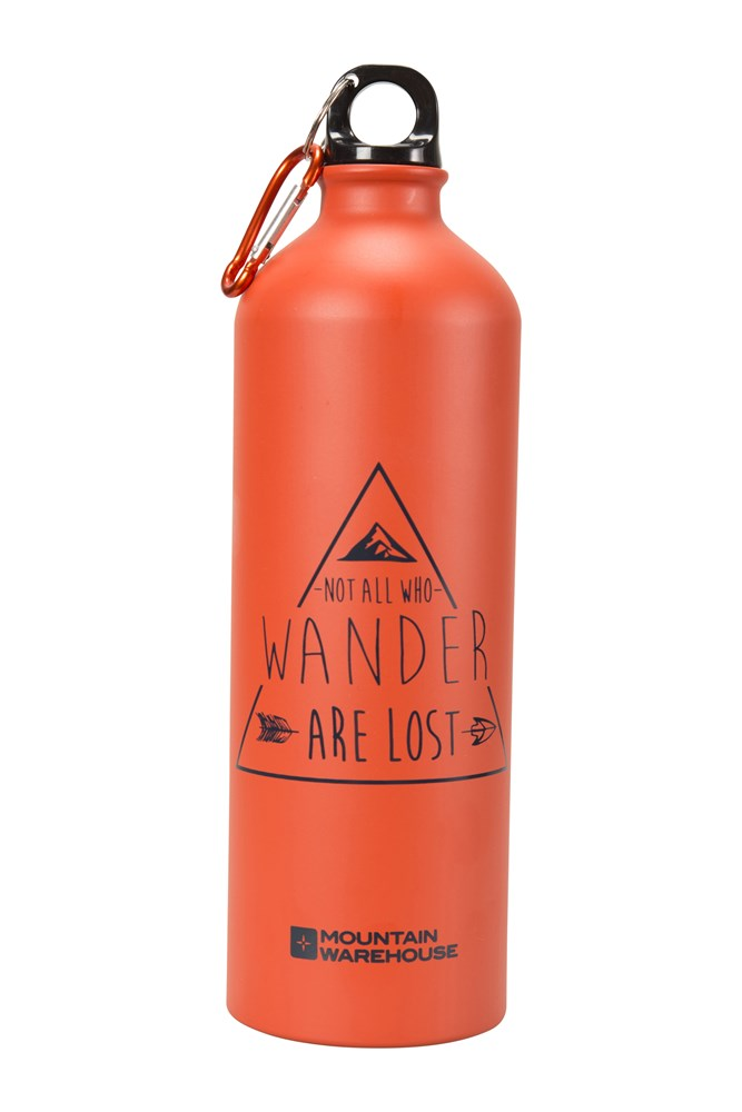 1l Printed Metallic Bottle With Karabiner - Orange