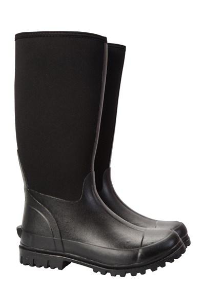 Mens Neoprene Long Mucker Boots - Black