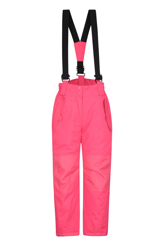 Skiing Snowboarding Adjustable Braces Ideal For Winter Sports Mountain Warehouse Printed Kids Ski Pants Waterproof Salopettes