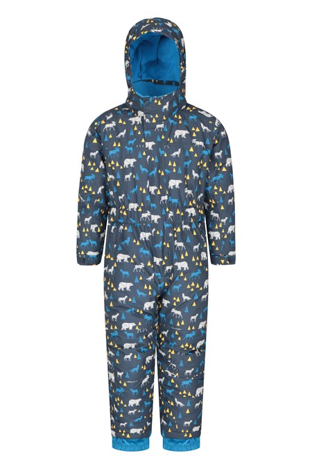 023179 CLOUD PRINTED KIDS WATERPROOF ALL IN ONE SNOWSUIT