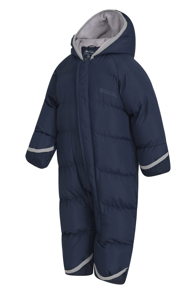 Ideal for Winter Holidays Central Zip Foot Cuffs Fleece Lining Childrens Snowsuit Hand Hoodie Mountain Warehouse Frosty Junior Padded Suit