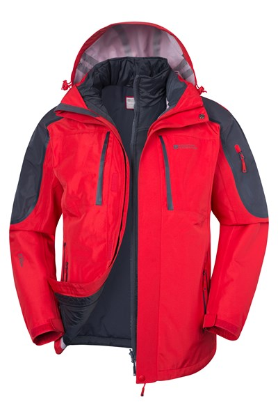 Zenith Extreme Mens 3 in 1 Waterproof Jacket - Red