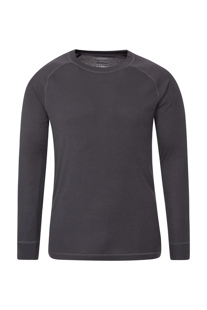 Talus Mens Long Sleeved Round Neck Top - Grey