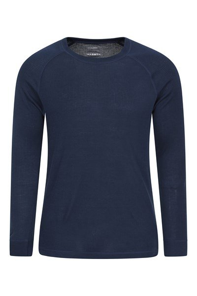 Talus Mens Long Sleeved Round Neck Top - Navy