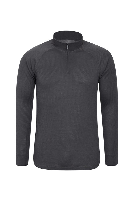 Talus Mens Long Sleeved Zip Neck Top - Grey