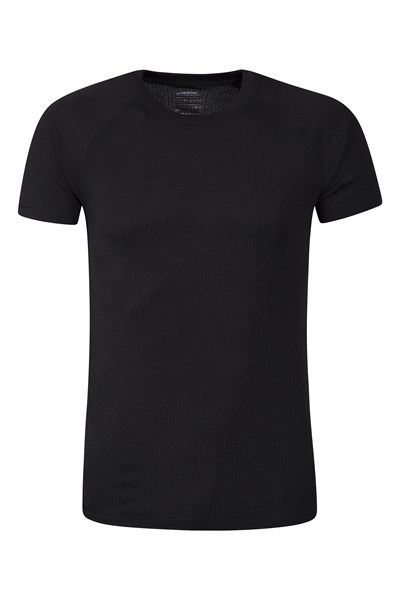 Talus Mens Short Sleeved Round Neck Top - Black