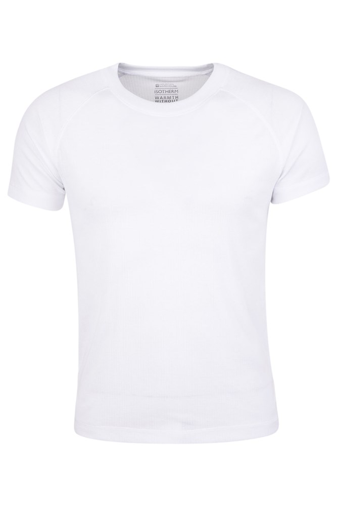 Talus Mens Short Sleeved Round Neck Top - White
