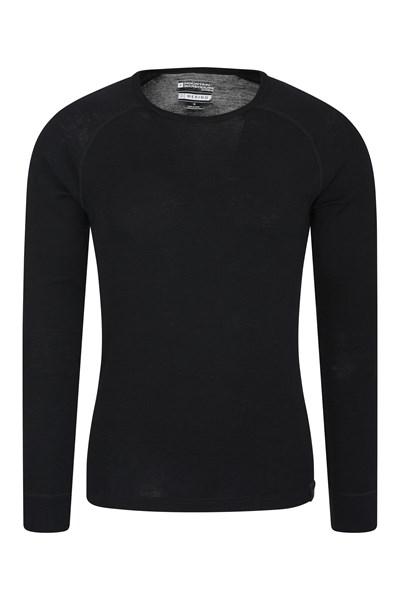 Merino Mens Long Sleeved Round Neck Top - Black