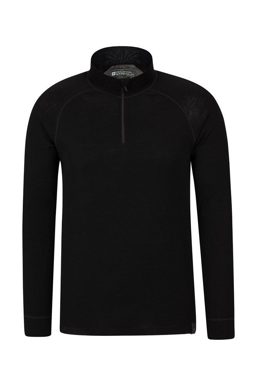 Merino Mens Long Sleeved Zip Neck Top - Black