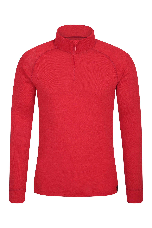 Merino Mens Long Sleeved Zip Neck Top - Red