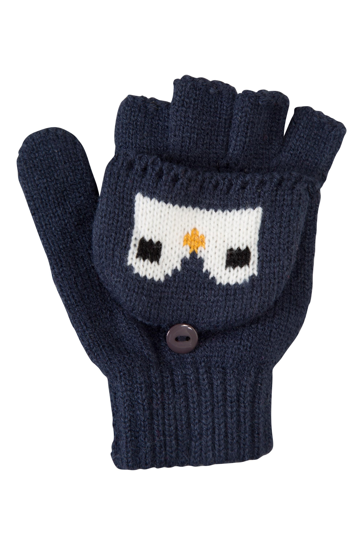 Penguin Knitted Kids Glove - Navy