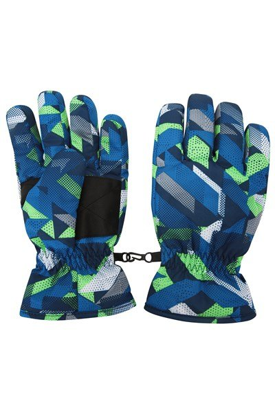 Printed Kids Ski Gloves - Blue