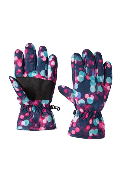 Printed Kids Ski Gloves - Dark Blue