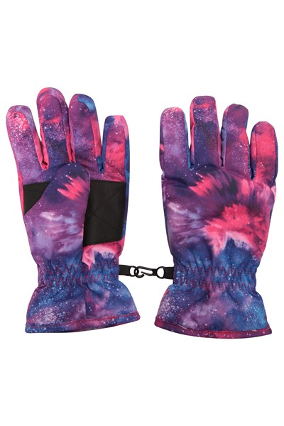 Printed Kids Ski Gloves - Purple